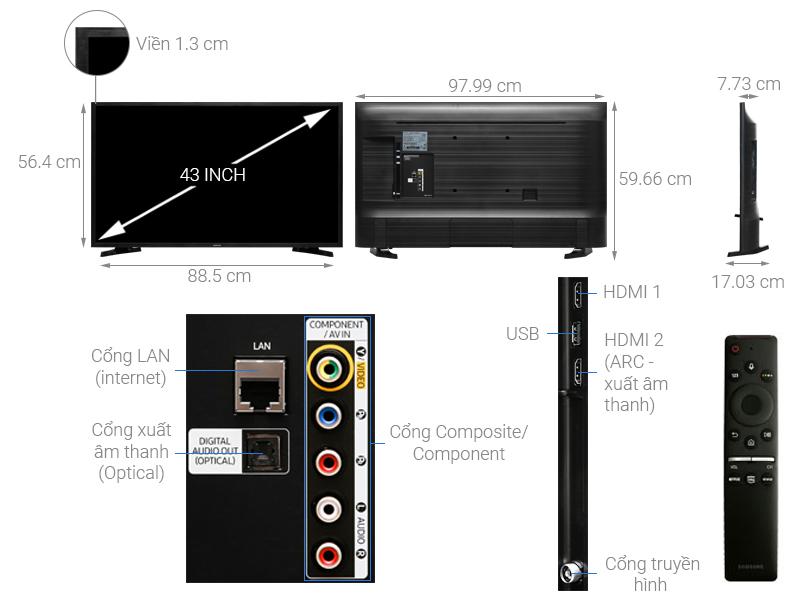 Thông số kỹ thuật Smart Tivi Samsung 43 inch UA43R6000