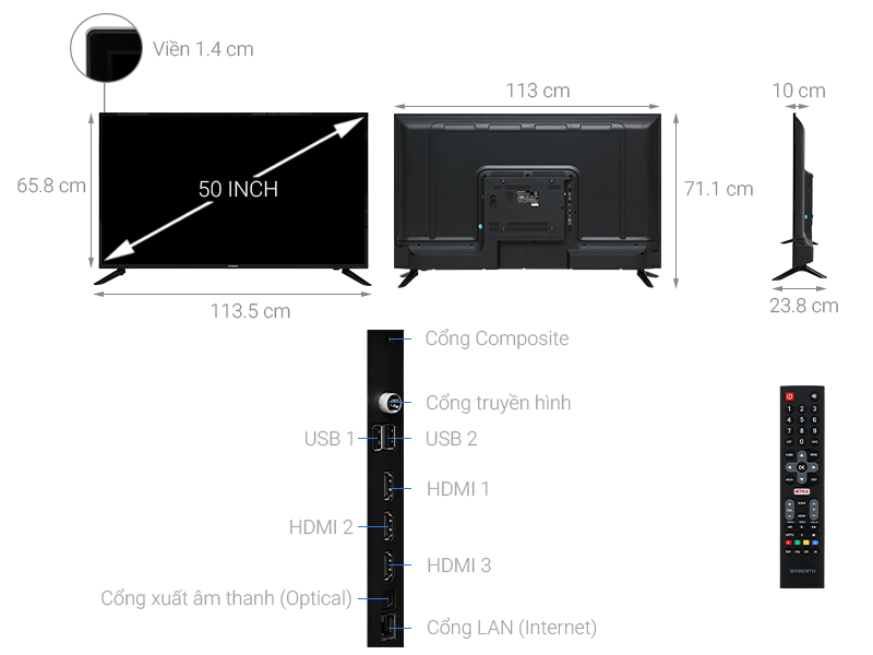 Thông số kỹ thuật Smart Tivi Skyworth 4K 50 inch 50UB5100