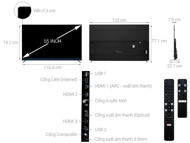 Thông số kỹ thuật Android Tivi TCL 4K 55 inch L55C8