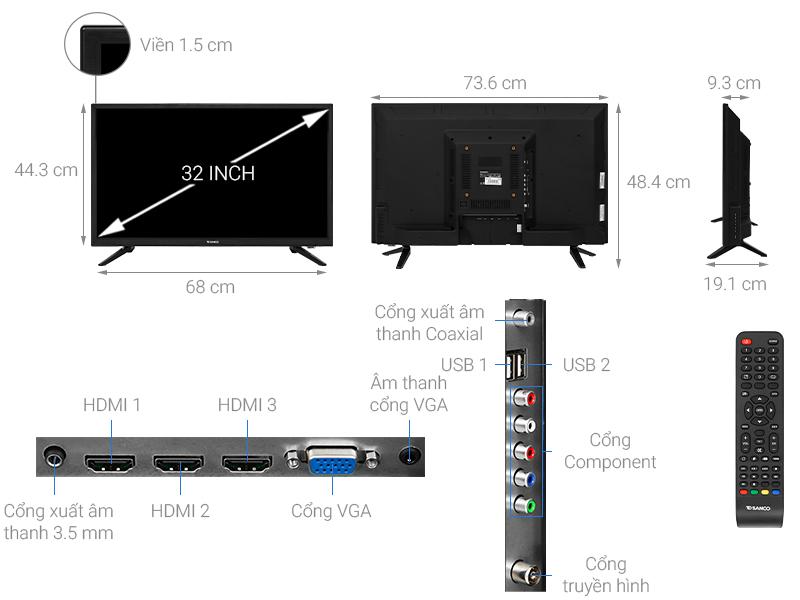 Thông số kỹ thuật Tivi Sanco 32 inch H32T200