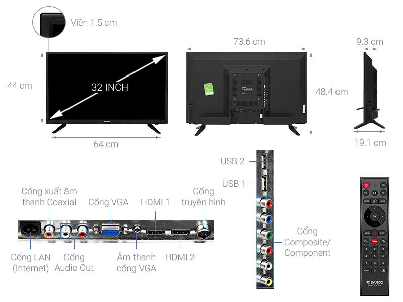 Thông số kỹ thuật Android Tivi Sanco 32 inch H32V300