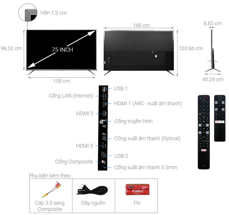 Thông số kỹ thuật Android Tivi TCL 4K 75 inch L75A8