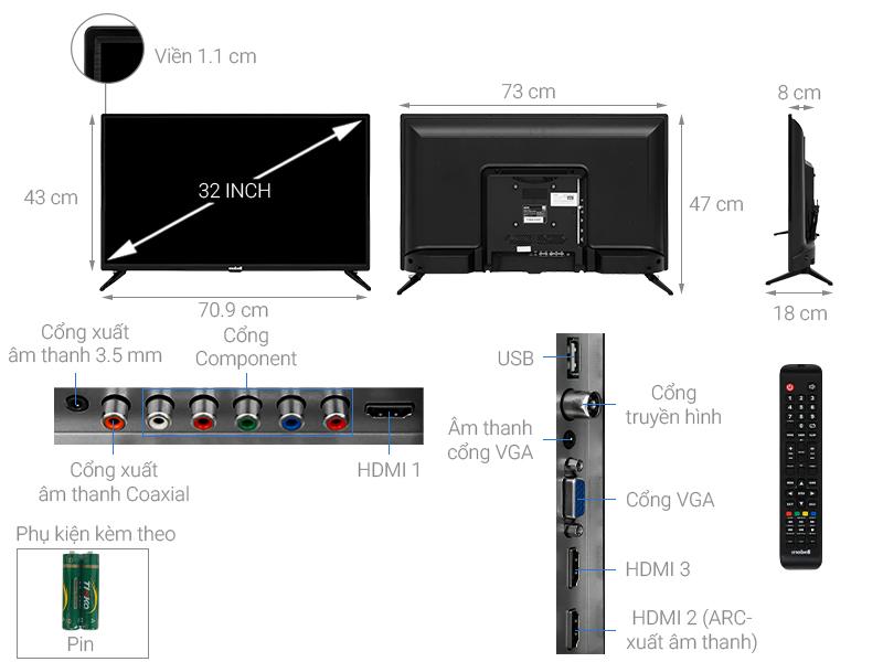 Thông số kỹ thuật Tivi Mobell 32 inch 32T610A