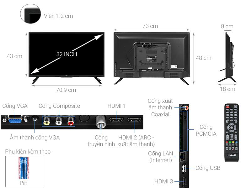 Thông số kỹ thuật Smart Tivi Mobell 32 inch 32W600A1
