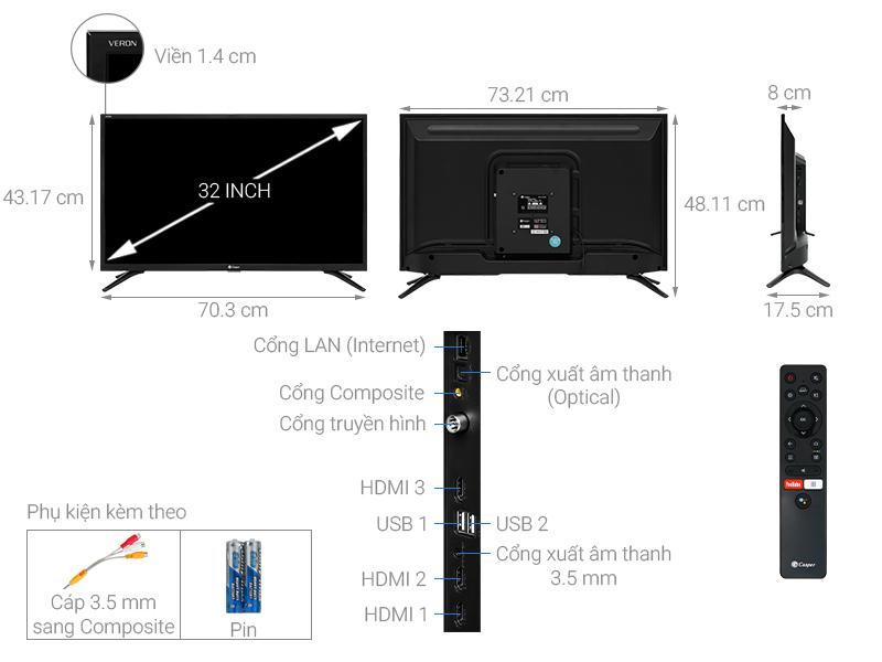 Thông số kỹ thuật Android Tivi Casper 32 inch 32HG5000