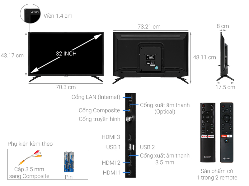 Android Tivi Casper 32 inch 32HG5000
