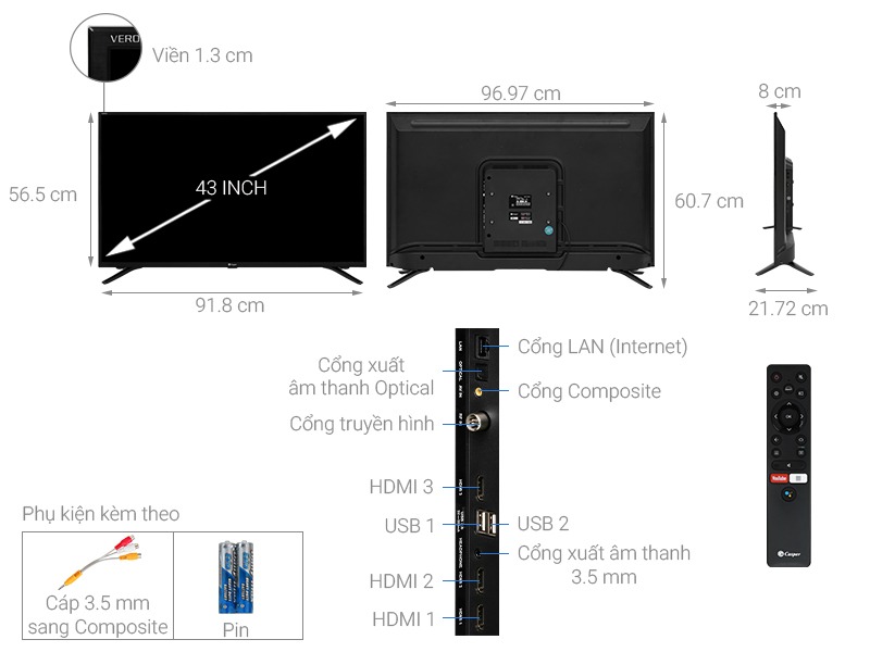 Thông số kỹ thuật Android Tivi Casper 43 inch 43FG5000
