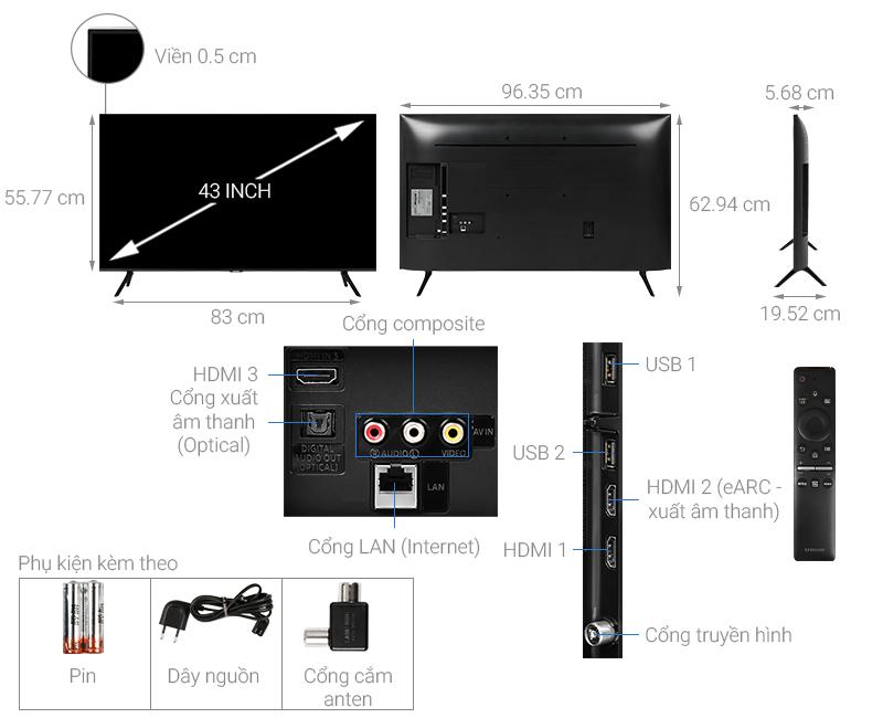 Thông số kỹ thuật Smart Tivi QLED Samsung 4K 43 inch QA43Q60T