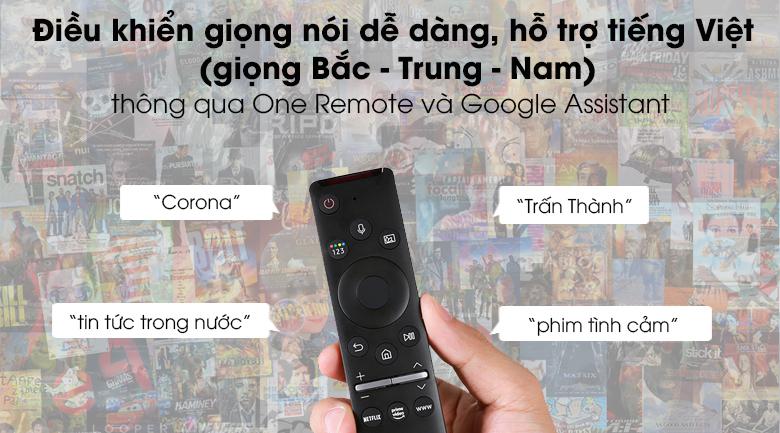 Điều khiển giọng nói với One Remote và Google Assistant - Smart Tivi QLED Samsung 4K 50 inch QA50Q60T