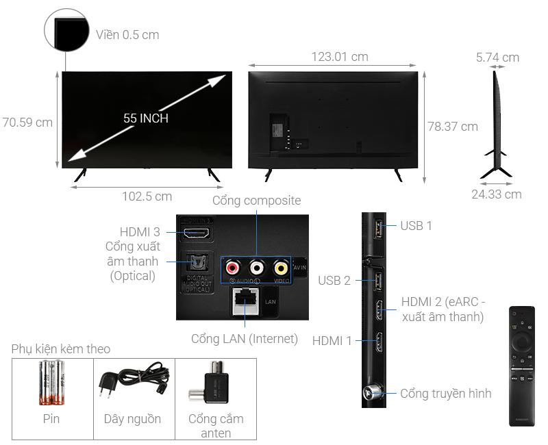 Thông số kỹ thuật Smart Tivi QLED Samsung 4K 55 inch QA55Q60T