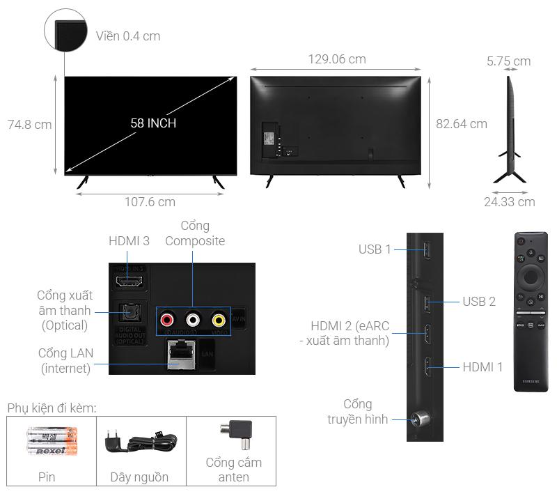 Thông số kỹ thuật Smart Tivi QLED Samsung 4K 58 inch QA58Q60T