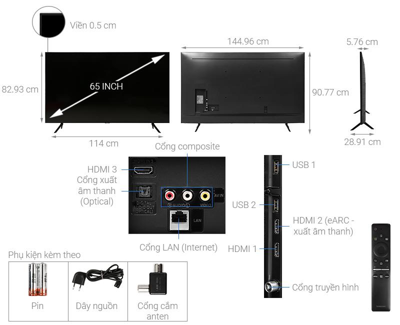 Thông số kỹ thuật Smart Tivi QLED Samsung 4K 65 inch QA65Q60T