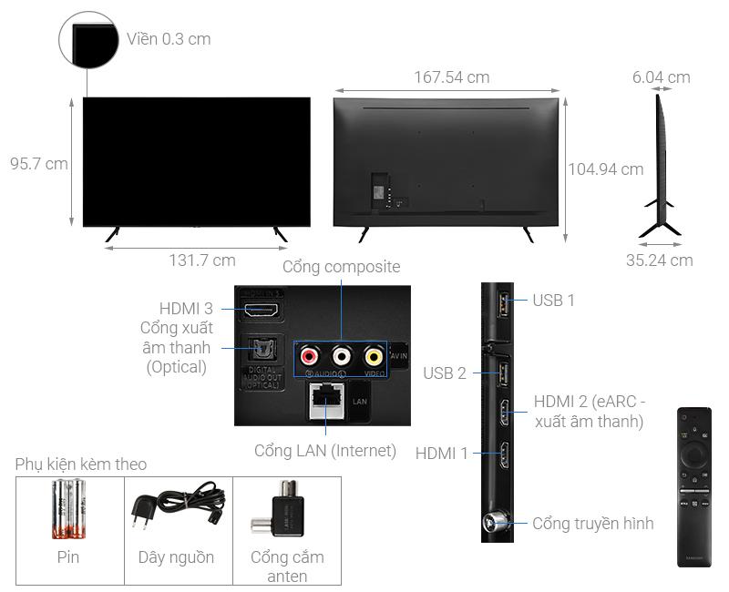Thông số kỹ thuật Smart Tivi QLED Samsung 4K 75 inch QA75Q60T