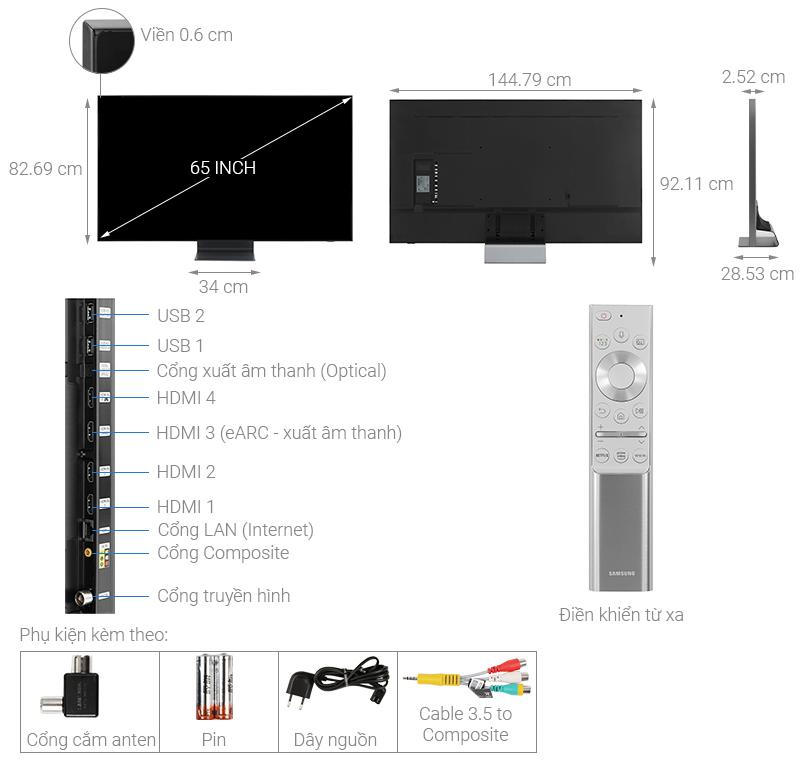 Thông số kỹ thuật Smart Tivi QLED Samsung 8K 65 inch QA65Q800T
