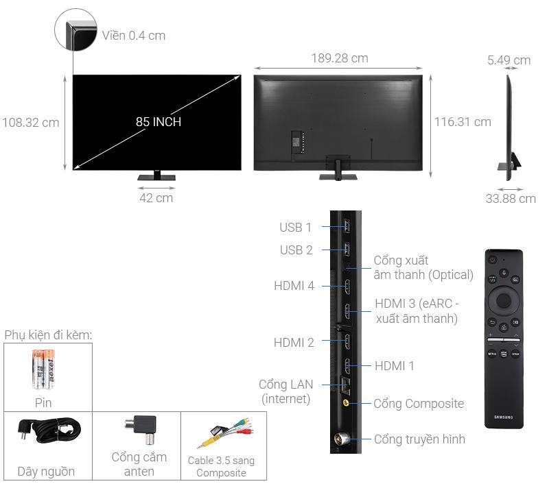 Thông số kỹ thuật Smart Tivi QLED Samsung 4K 85 inch QA85Q80T