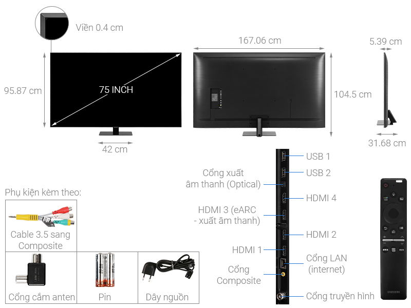 Thông số kỹ thuật Smart Tivi QLED Samsung 4K 75 inch QA75Q80T