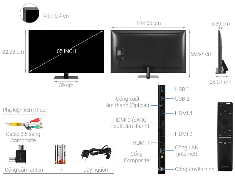 Thông số kỹ thuật Smart Tivi QLED Samsung 4K 65 inch QA65Q80T