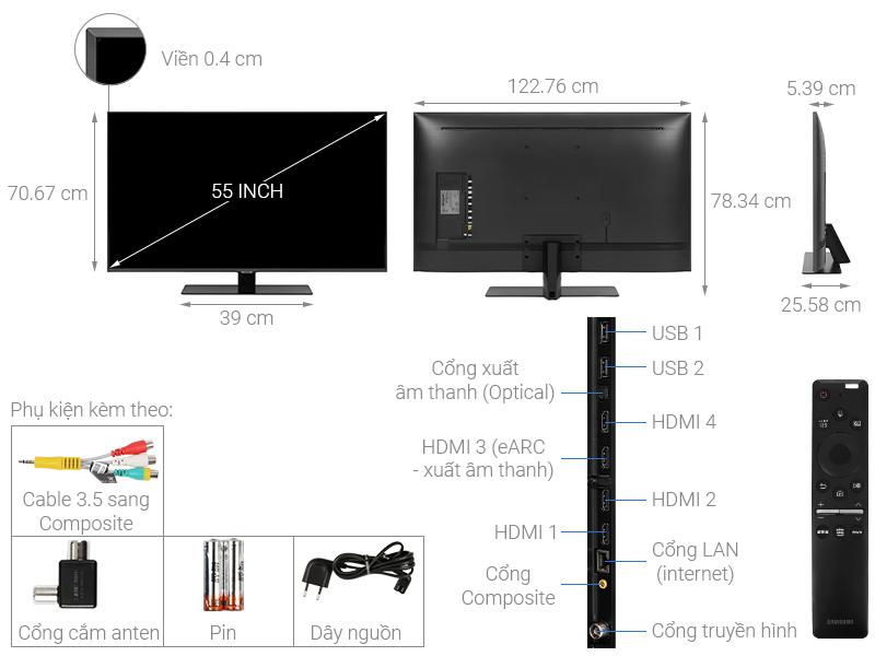 Thông số kỹ thuật Smart Tivi QLED Samsung 4K 55 inch QA55Q80T