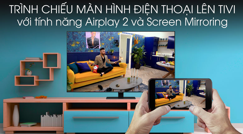 Chiếu màn hình - Smart Tivi QLED Samsung 4K 55 inch QA55Q80T