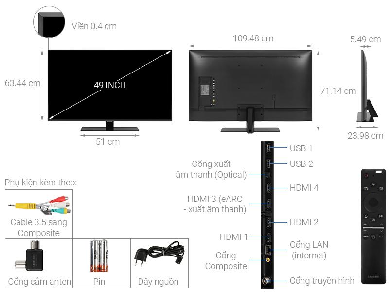 Thông số kỹ thuật Smart Tivi QLED Samsung 4K 49 inch QA49Q80T