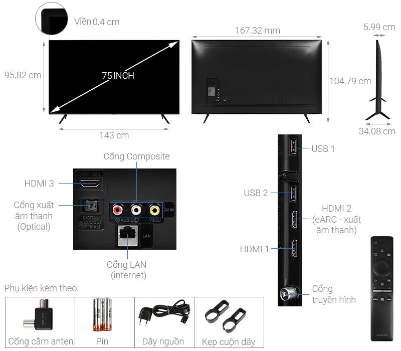 Thông số kỹ thuật Smart Tivi Samsung 4K 75 inch UA75TU8100