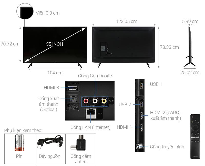 Thông số kỹ thuật Smart Tivi Samsung 4K 55 inch UA55TU8100