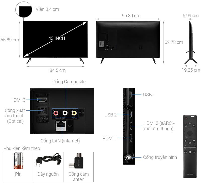 Thông số kỹ thuật Smart Tivi Samsung 4K 43 inch UA43TU8100
