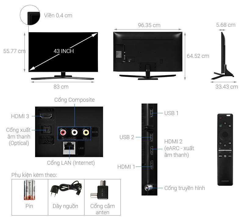 Thông số kỹ thuật Smart Tivi Samsung 4K 43 inch UA43TU8500