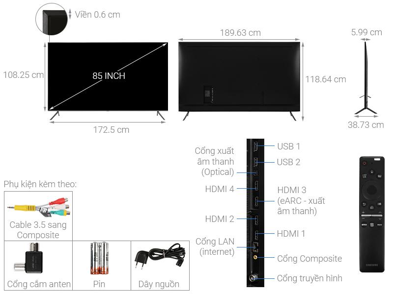 Thông số kỹ thuật Smart Tivi QLED Samsung 4K 85 inch QA85Q70T