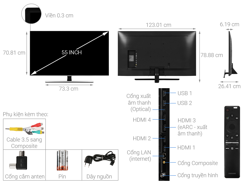 Thông số kỹ thuật Smart Tivi QLED Samsung 4K 55 inch QA55Q70T