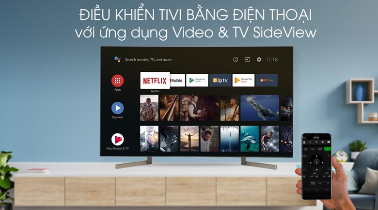 Video & SideView-Android Tivi Sony 4K 49 inch KD-49X9000F