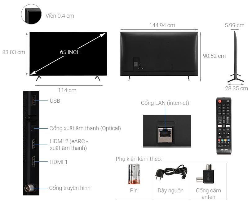 Thông số kỹ thuật Smart Tivi Samsung 4K 65 inch UA65TU7000