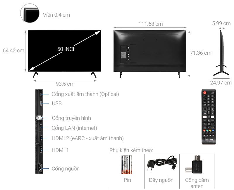 Thông số kỹ thuật Smart Tivi Samsung 4K 50 inch UA50TU7000