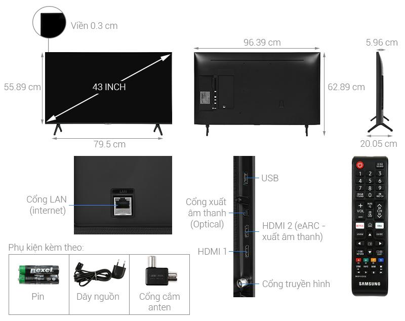Thông số kỹ thuật Smart Tivi Samsung 4K 43 inch UA43TU7000