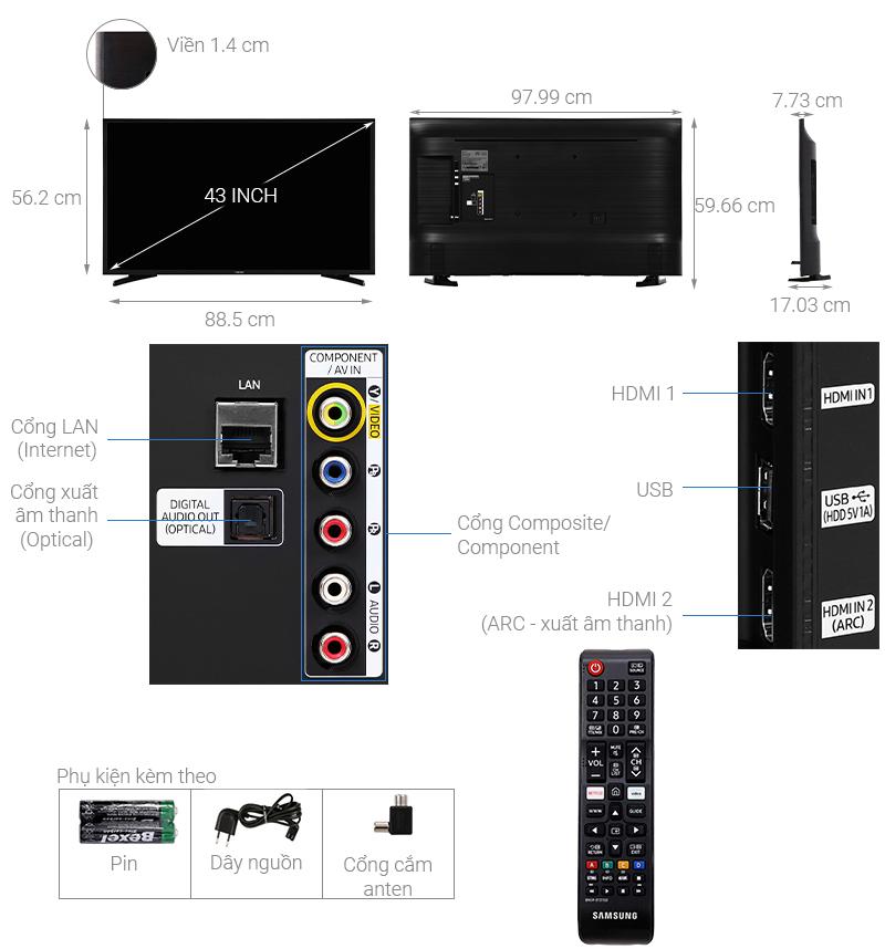 Thông số kỹ thuật Smart Tivi Samsung 43 inch UA43T6000