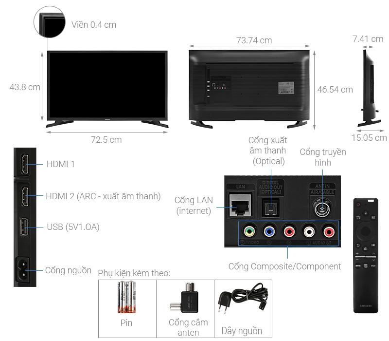 Thông số kỹ thuật Smart Tivi Samsung 32 inch UA32T4500