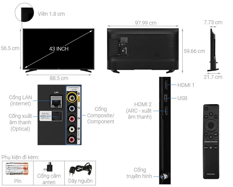 Thông số kỹ thuật Smart Tivi Samsung 43 inch UA43T6500