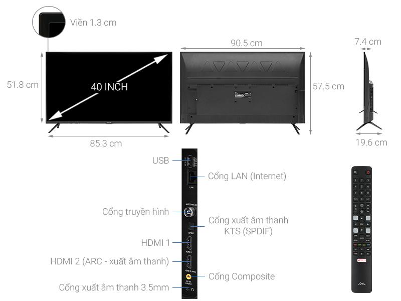 Thông số kỹ thuật Smart Tivi FFalcon 40 inch 40SF1