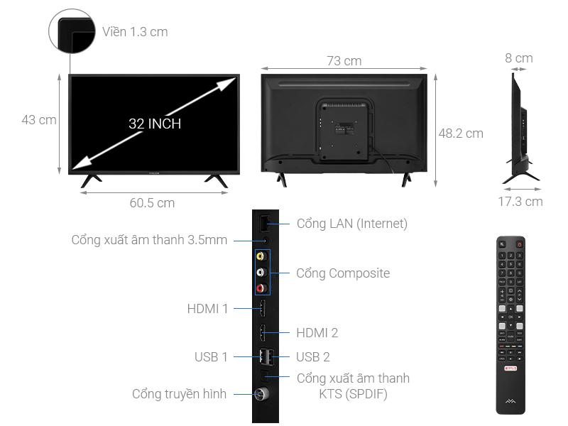 Thông số kỹ thuật Smart Tivi FFalcon 32 inch 32SF1