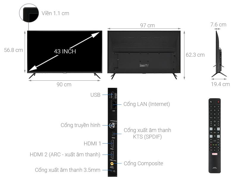 Thông số kỹ thuật Smart Tivi FFalcon 43 inch 43SF1