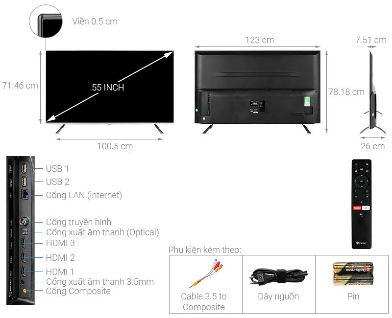 Thông số kỹ thuật Android Tivi Casper 55 inch 55UG6000
