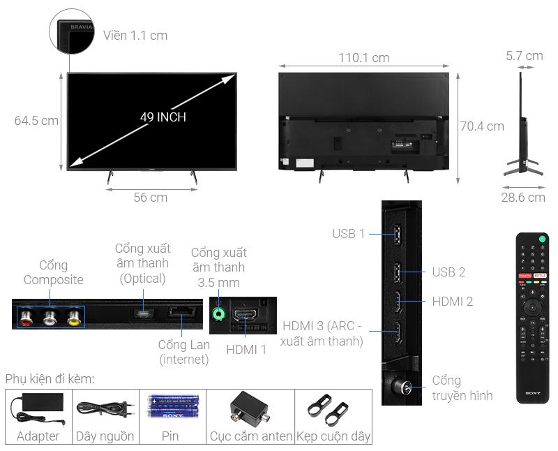 Thông số kỹ thuật Android Tivi Sony 4K 49 inch KD-49X7500H