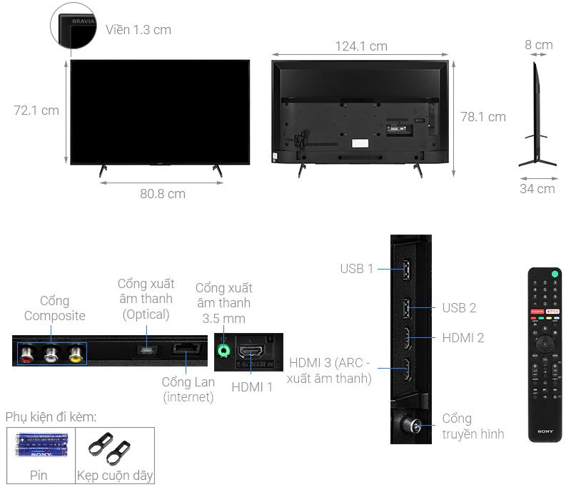 Thông số kỹ thuật Android Tivi Sony 4K 55 inch KD-55X7500H