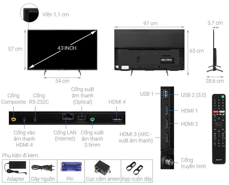 Thông số kỹ thuật Android Tivi Sony 4K 43 inch KD-43X8000H