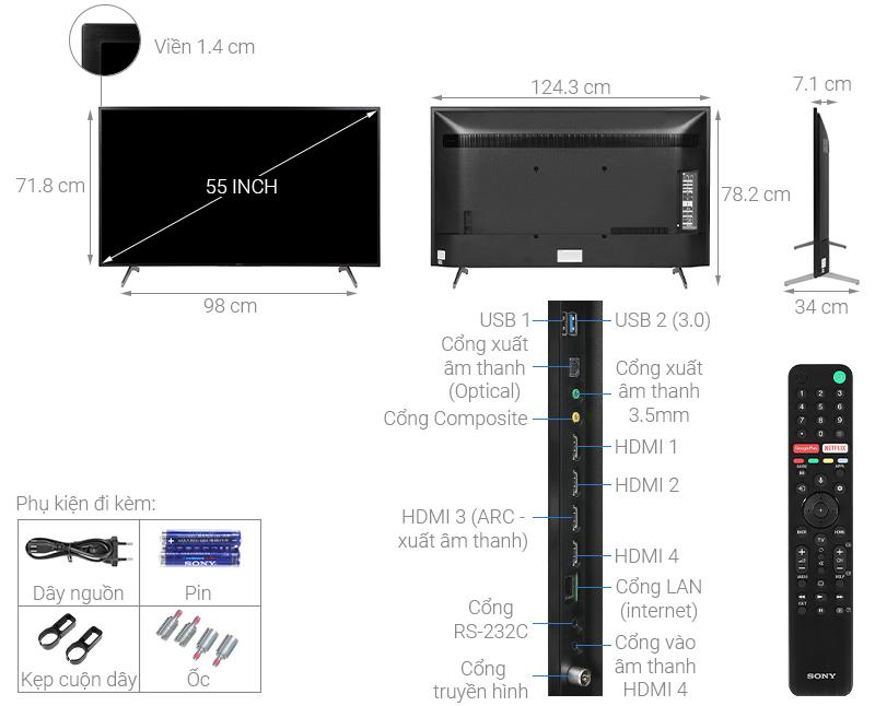 Thông số kỹ thuật Android Tivi Sony 4K 55 inch KD-55X8000H