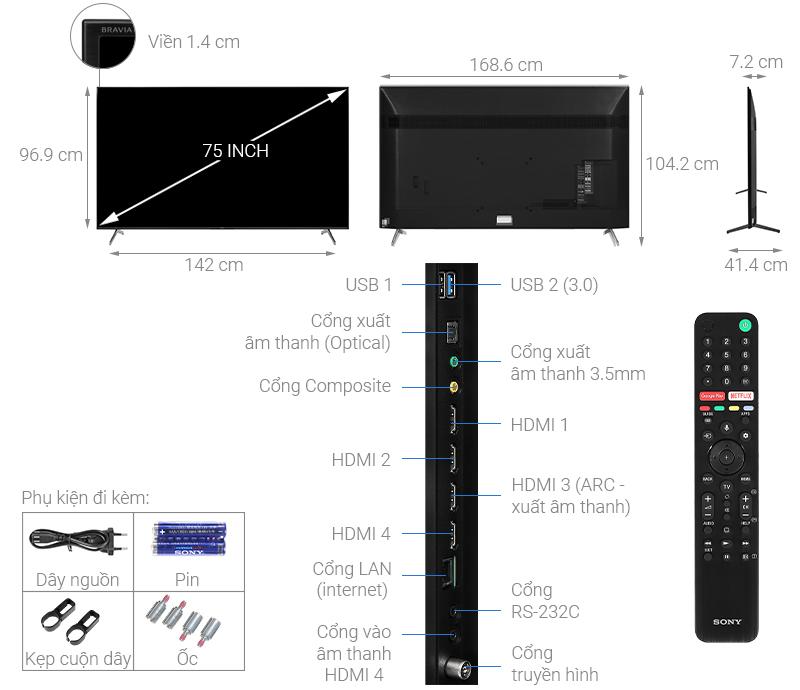 Thông số kỹ thuật Android Tivi Sony 4K 75 inch KD-75X8000H