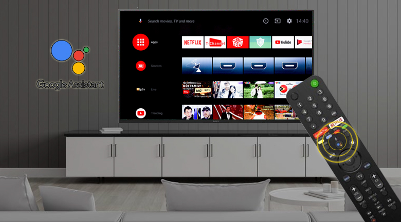 Android Tivi Sony 4K 75 inch KD-75X8000H - Remote thông minh