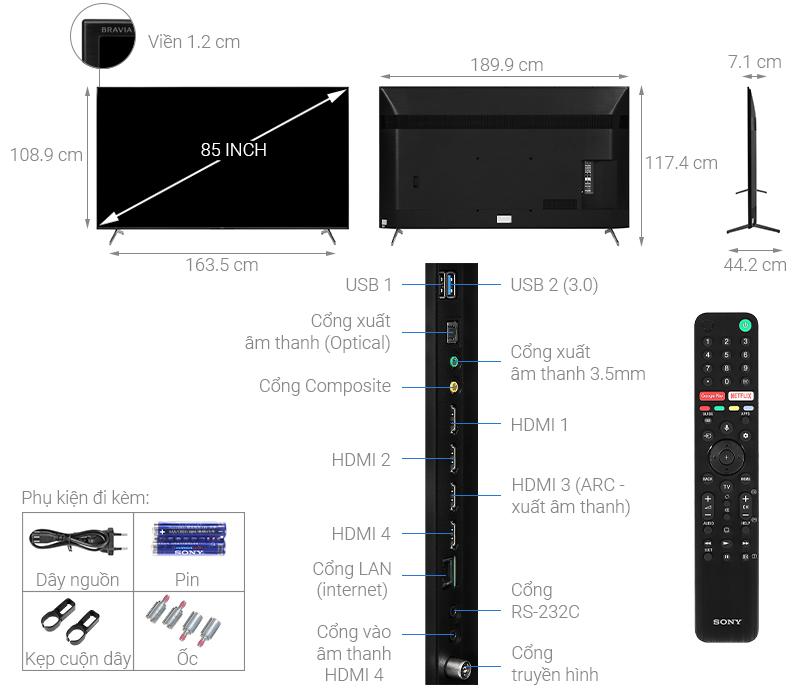 Thông số kỹ thuật Android Tivi Sony 4K 85 inch KD-85X8000H