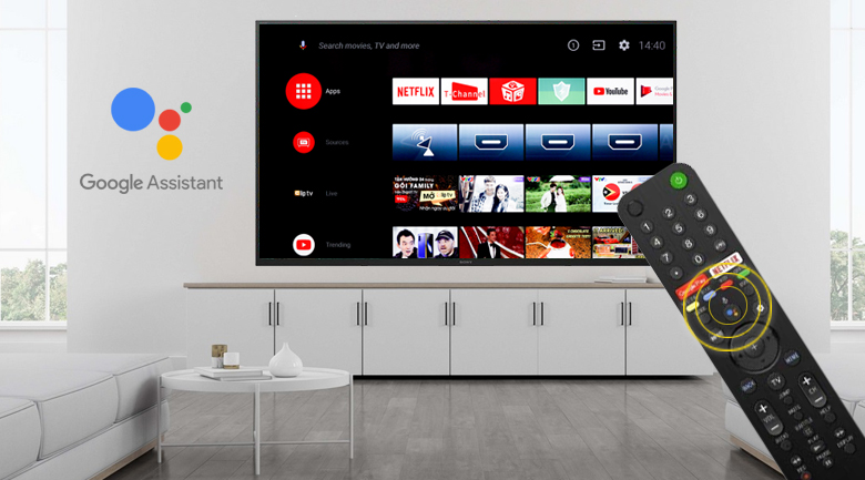 Android Tivi Sony 4K 85 inch KD-85X8000H - Remote thông minh