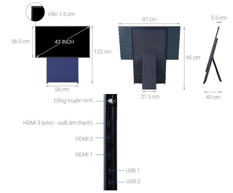 Thông số kỹ thuật Smart Tivi Màn Hình Xoay The Sero QLED Samsung 4K 43 inch QA43LS05T
